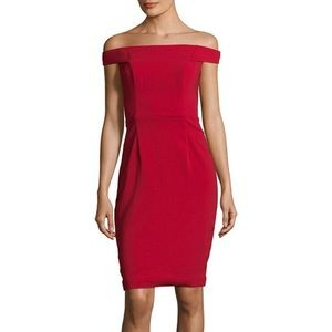 Carmen Marc Valvo infusion Red crepe dress new